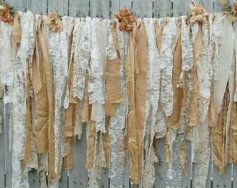 Bohemian lace and ribbon garland/banners