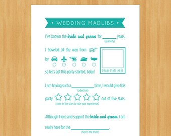 Printable Wedding MadLibs Game, DIY, Instant Download, Printable PDF, Robin egg blue