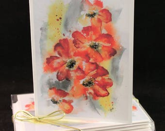 Orange floral  Original Watercolor PRINT Note Card Set, Watercolor Cards, Watercolor flowers