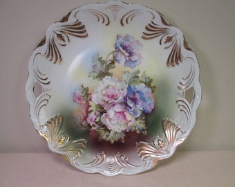 Porcelain Cake Plate - Ideal Germany - Peonies