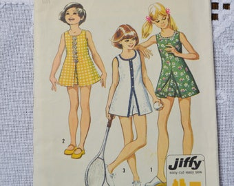 Vintage Simplicity 5708 Sewing Pattern Crafts Girls Mini Dress and Shorts Size 10  DIY Sewing Crafts PanchosPorch