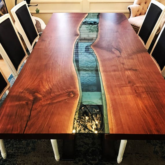 Live Edge black walnut river table with half moon base Live