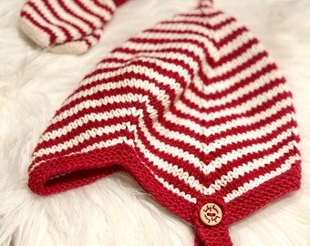 Hand Knit Baby Pixie Hat | Candy Cane