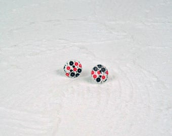 Studs Button Flowers Black pink