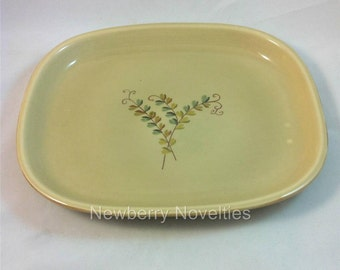 """Pier1 Serving Platter """"Ivory Leaf"""", 14"""" inches,  Handpainted by A. Santos Portugal for Pier 1, Tan with painted leaves"""