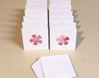 12 Mini Cards 3 x 3 flower with Envelopes - thank you notes