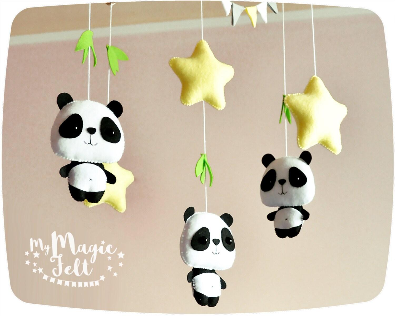 Baby Mobile Panda And Stars Crib Mobile Nursery Woodland