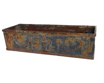 1 (ONE) Antique French cast iron planter, architectural yard art. European Romantic rusty garden decor, gardening gift. #641GABEK21
