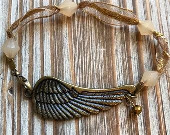 Brass Angel Wing Bracelet Boho Vintage Chic