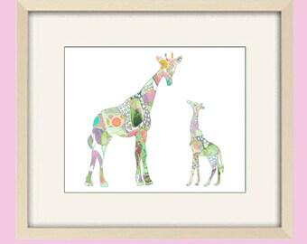 baby girl nursery giraffe art, baby nursery decor, nursery art, kids wall art, baby decor, pastel nursery, giraffe print, baby nursery print