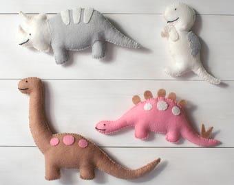 Felt Dinosaur Toys - Four plush felt dinosaurs - Triceratops, T-Rex, Stegosaurus, Brontosaurus, pink, grey, tan, white