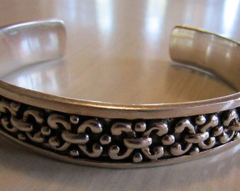 Sterling Silver Cuff Bracelet with Bold Design  6 7/8""