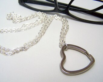 Clasp Less Silver Heart Eyeglass Loop, Gold Eyeglass Ring, Eyeglass Lanyard, Chain for Glasses, Eyeglass Chain,