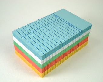 100 Library Cards in Assorted Colors