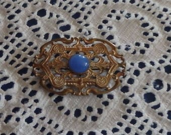 C Clasp Gold-Tone Brooch. Blue Glass Stone in Center. Vintage 1900's