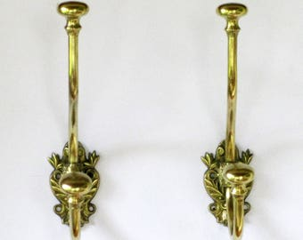 A Pair of Delicious French Vintage Brass Coat Hooks,Brass Coat Hooks, French Coat Hooks,  Pair ofCoat Hooks, Chateau Quality Coat Hooks 457