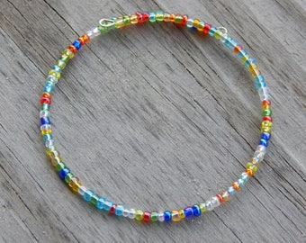 Rainbow Multi Colored Beaded Memory Wire Bracelet - Rainbow Colors