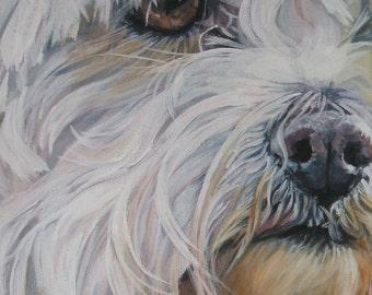 "MALTESE dog art PORTRAIT canvas PRINT of LAShepard painting 8x10"""