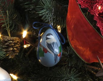 Chickadee & Holly Hand-Painted Gourd Ornament - Set of 4 - Blue