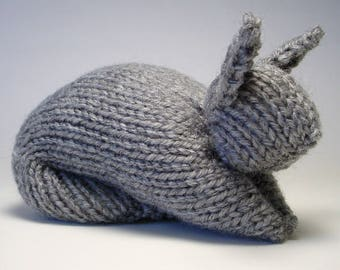 Stuffed Bunny Toy Hand-Knit in Gray, Soft Baby Shower Gift, Easter Toy, Stuffed Animal