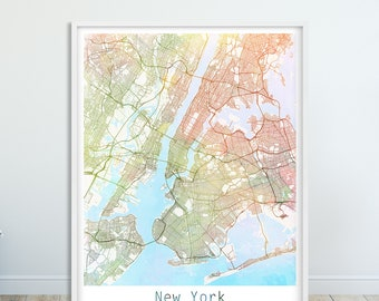 new york city urban map poster new york street map wall decor watercolor new york map modern wall art home decor digital printable art