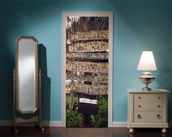 Door Mural Alice In Wonderland Mad Hatters Tea Party View Effect Decal Mural Home Decor Window Sticker Home Living Vinyl Bedroom Lounge 304