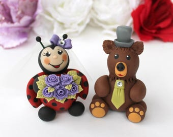 Custom wedding cake topper, ladybug and grizzly bear cake topper, bride and groom cake topper, wedding cake topper figurines, animal topper