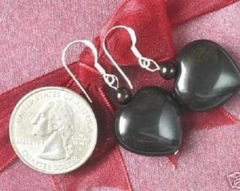 Earrings Obsidian Huge 20mm Heart Beads 925 ESOB0792
