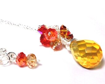 Yellow Crystal Pendant, Cluster Pendant, Faceted Briolette Crystal, Faceted Wire Wrapped Crystal, Sunset Colors, November Birthstone