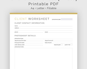 Client Worksheet Photography - Fillable - Printable PDF - Photography Business - Business Planner - Instant Download
