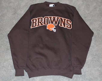 Vintage 90s Clothing NFL Cleveland Browns Football Puma Men's Size Medium or Oversized Womens Spell Out Logo Long Sleeve Crewneck Sweatshirt