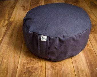 Meditation cushion pouf zafu Gray Plain Organic Buckwheat floor pillow with lining - handmade by Creations Mariposa
