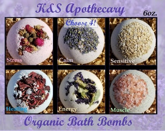 Organic Bath Bombs Set! (Four) 6oz All Natural Bath Bomb Gift Set, Organic Gift for her, Natural Dye, 7 Dollar US Shipping, Bulk Gift Set.