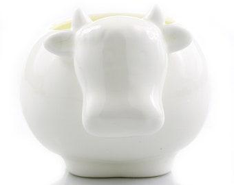 Ceramic White Cow Succulent Planter Pot - Small Succulent Pot, Succulent Planters, Succulent Plant Pot, Indoor Planter, Ceramic Planter