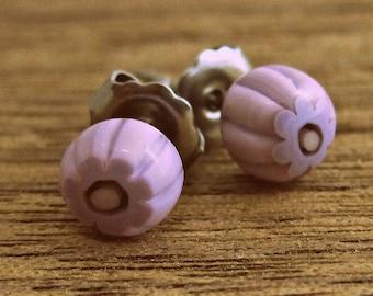Fused Glass | Stud Earrings | Pink | Floral