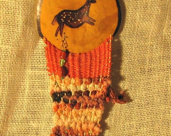 Woven Gourd Art, Painted Gourd Horse Pictogram, Ready to Ship, Southwestern Decor for Fiber Art Lover, Native American