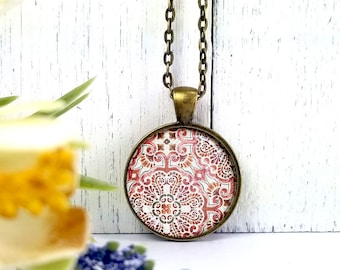 Pattern 1 Pinks-Medium Round- Glass Bubble Pendant Necklace