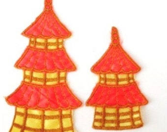 Double Towers Orange Yellow Satin Vintage 1970's Sewing Patch Applique