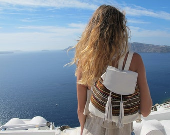 Women backpack, Available in many colors, handmade of leather and traditional Greek woven fabric. Crete-BP 04W