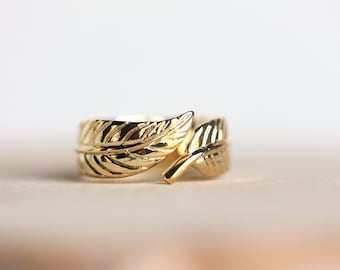 Gold Feather Adjustable Ring,by MAki Y Design