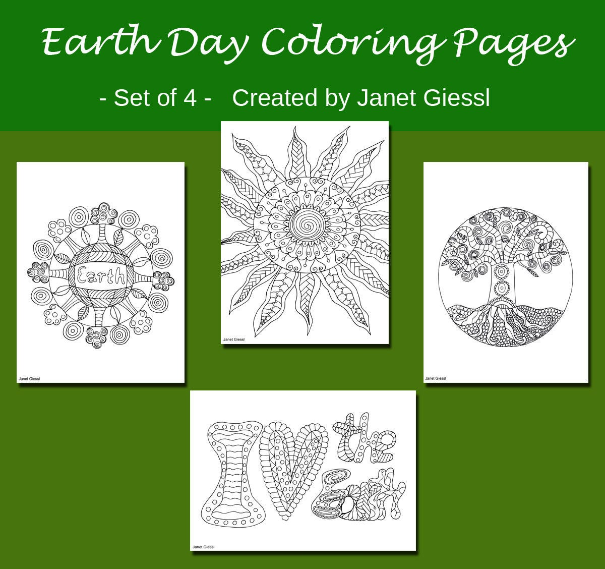 Earth Day Coloring Pages Set of 4