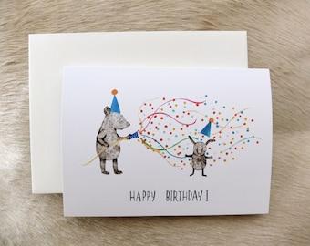 Cheeky Birthday card 'Happy Birthday!' - Original animal illustration by Nana Sakata