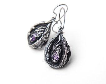 Secret Forest Earrings, Amethyst, Gemstone, Twigs, Branches, Witch Earrings, Gem Stone