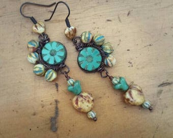 Funky wire wrapped earrings, boho earrings, artisan jewelry, rustic hearts and flowers