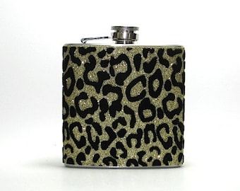 Black and Gold Leopard Cheetah Sparkly Glitter 6 oz Size Stainless Steel Liquor Hip Flask Flasks Weddings Bridesmaids
