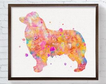 Australian Shepherd Art Print, Watercolor Australian Shepherd, Australian Shepherd Wall Art, Colorful, Watercolor Dog Art, Kids Room Decor