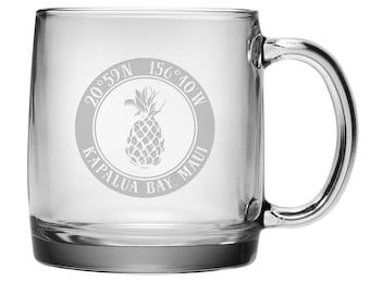 Custom Coordinates Pineapple Coffee Mug S/4, Latitude Longitude Glassware, Latitude Longitude Coffee Mug, Personalized Coffee Cup