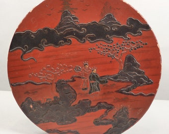 Antique China Chinese Laquer Laquerware Round Circular Box, Qing or Early Republic