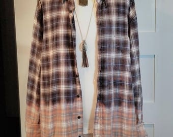 Distressed Ombre Flannel Oversized Shirt
