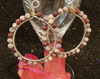Wire wrapped 1 1/2 inch hoop earrings with burgundy and gray agate beads